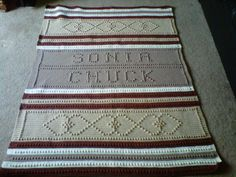 Personalized Afghan Pattern. Great wedding gift. Very easy to do, works up very quickly. $5.00 plus shipping. Available on Esty