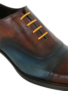 HARRIS - TWO TONE BRUSHED LEATHER OXFORD SHOES - BLUE/BROWN Men's Footwear, Luxury Shop, Dress Codes, Blue Shoes, Blue Brown, Derby, Oxford Shoes, Lace Up, Pairs