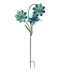 Look at this #zulilyfind! Blue Double Flower Solar Garden Stake #zulilyfinds