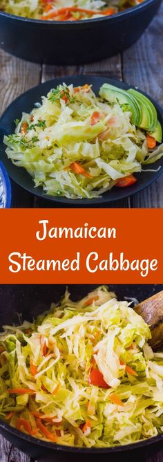 Jamaican Steamed Cabbage - Healthier Steps - One Jamaican Cuisine, Jamaican Dishes, Jamaican Recipes, Jamaican Appetizers, Jamaican Soup, Asian Recipes, Jamaican Desserts, Jamaican Party, Jamaican Restaurant