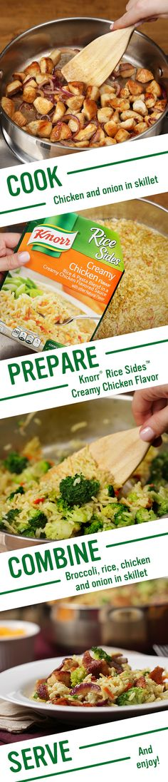 With Knorr's Bacon, Broccoli, Chicken & Rice, a quick & easy to make meal your family will love is less than 30 minutes away. Follow this recipe for a delicious family dinner. 1. Melt butter in skillet, adding chicken. Stir in onion and cook. Set aside. 2. Prepare Knorr® Rice Sides™ - Creamy Chicken flavor in same skillet.3. Add broccoli, chicken and onion. Sprinkle with bacon, serve and enjoy!