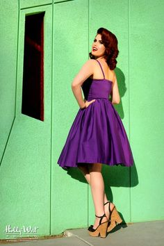 Pinup Couture Jenny Dress in Dark Purple
