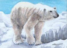 ACEO Original Painting Polar Bear wildlife animals marine ice arctic endangered  #Impressionism