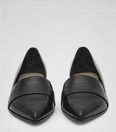 Womens Black Point-toe Flats - Reiss Edie