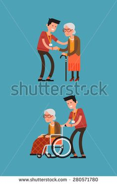 Set of lovely flat character design on young volunteer man caring for elderly…