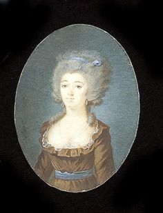 French School, A Lady, wearing brown dress with white lace collar and blue waistband, her hair powdered with matching blue ribbon