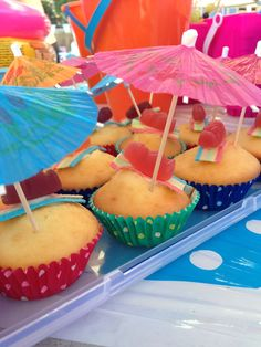 """Sun safe jelly babies, resting on a sour ribbon beach towel on a golden """"sand"""" cupcake :o)"""