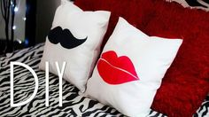 Photo DIY Red Lips and a Moustache on Throw Pillows with fabric paint. Photo DIY Red Lips and a Moustache on Throw Pillows with fabric paint. Sewing Pillows, Diy Pillows, Decorative Pillows, Throw Pillows, Photo Pillows, Fabric Crafts, Sewing Crafts, Sewing Projects, Decor Crafts
