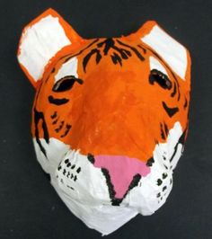 paper mache animal mask made on a balloon form