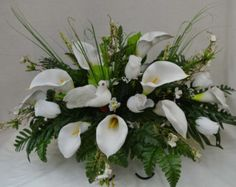 5006 White Lily Cemetery Flower Arrangement by AFlowerAndMore Cemetery Vases, Cemetery Flowers, Grave Decorations, Memorial Flowers, Floral Arrangements, Flower Arrangement, Cascade Bouquet, Artificial Silk Flowers, White Lilies