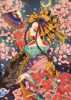 """Jibaku Shounen Hanako-kun FF """"Found you, First born of the Minamoto… Geisha Kunst, Geisha Art, Geisha Anime, Anime Kimono, Anime Art Girl, Manga Art, Manga Anime, Anime Girls, Fantasy Kunst"""