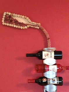 Wine Cork Art Pouring wine bottle by ClayInHisLivingRoom on Etsy