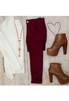 Try To Skinny Jeans - Burgundy from Shop Priceless. Saved to Pants/Leggings. Shop more products from Shop Priceless on Wanelo. Outfit Pantalon Vino, Cute Fashion, Fashion Outfits, Womens Fashion, Fall Winter Outfits, Autumn Winter Fashion, Casual Outfits, Cute Outfits, Burgundy Jeans