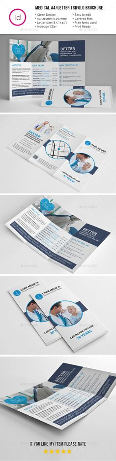 Medical A4 / Letter Trifold Brochure Tempalte #tfifold #brochure Download: http://graphicriver.net/item/medical-a4-letter-trifold-brochure/11679485?ref=ksioks