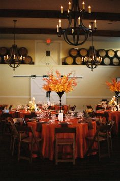 Amazing color scheme and centerpieces!  Would be beautiful for an outdoor/casual fall wedding.