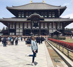 Impossível uma foto sozinha aqui mas queria deixar registrado este templo maravilhoso! Templo Todai-ji todo em madeira e dentro a maior estátua do Buda do mundo! Pesa 500 toneladas mede 16 metros de altura! Foi massa! Quem acompanhou no stories? #carolnojapao