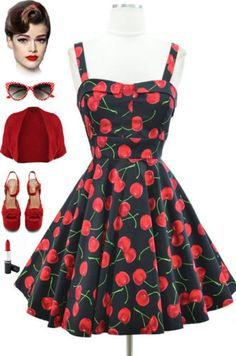 50s-Style-PLUS-SIZE-PINUP-BLACK-CHERRY-Bombshell-PULL-UP-A-CHERRY-Sun-Dress