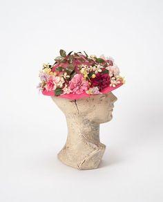 Vintage 1950s Flower Hat Pink Floral Toque Hat 50s by missfarfalla
