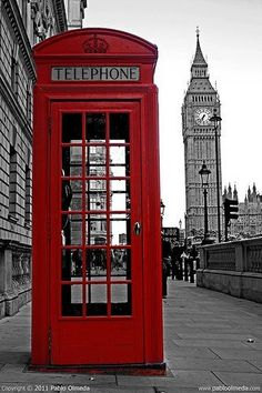 London, England. Red phone both!! Is highly illogical that I want one? Because I do and I shall full it with British authors' books.  :)