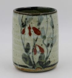 COLIN KELLAM | Japanese Style Brushwork Stoneware Tea Cup. Part of the Yunomi Collection. Museum Quality. These pieces were exhibited in two international museum shows and published in their catalogs.