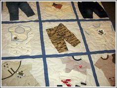 Interesting baby clothes memory quilt