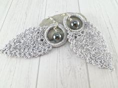 Gray/Silver Lightweight Drop Earrings Dangle by SandyCraftUK