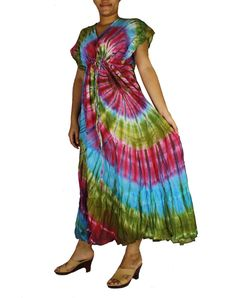 Siam2u Hippie V-Neck Tie Dye Cotton Long Kimono Women Summer Dress. Maxi, Dress, plus size dress, Women's dress,sexy dress, summer dress, beachwear. long dressm hippie dress, gypsy dress, Kimono dress, Kimono, sundress,sexy dress. casual dress,Maxi, hippie dress, tie dye, tie dye dress, bohemian,clothing, Women's Clothing. Women's dress, maternity, colorful dress.