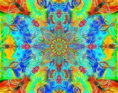 Mandala tapestry life is stronger.... print by KetubahandJudaica