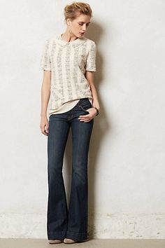 J Brand Lovestory Flare Jeans - I really love the jeans with a bigger flare leg style. ;) J Brand Lovestory Flare Jeans #anthropologie