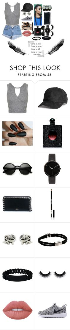 """""""Untitled #433"""" by elysiadougi ❤ liked on Polyvore featuring Miss Selfridge, Levi's, Yves Saint Laurent, I Love Ugly, Valentino, Givenchy, Accessorize, Marc by Marc Jacobs, Jura and Lime Crime"""