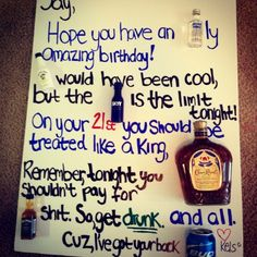 21st birthday present for my boyfriend   :)Hope you have an ABSOLUTly amazing birthday! MALIBU would have been cool, but the SKYY is the limit tonight! On your birthday you should be treated like a King, CROWN and all. Remember, tonight you shouldn't pay for JACK shit. So get drunk. Cuz I've got your back BUD. by Rethie