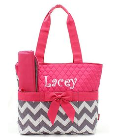 Personalized Gray & Hot Pink Chevron Diaper Bag Set- 3 piece quilted zig zag pattern baby girl Momogram FREE on Etsy, $37.00