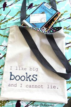 DIY Big Books Library Bag by sewdelicious: This tutorial includes designing your slogan/image on the computer, then the sewing of the bag. is this ok to use for my kids school library bag?