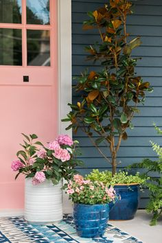 Classic Navy and Millennial Pink Create Bold Curb Appeal - The updated HGTV Urban Oasis 2017 showcases an inviting front porch, eye-catching color scheme, and improved landscaping packed with different shades of pink. Front Door Colors, Front Door Decor, Front Doors, Navy Blue Houses, Front Porch Remodel, Small Front Porches, Exterior Paint Colors, Porch Decorating, Decorating Ideas
