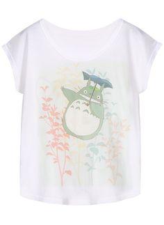 My Neighbor Totoro Print White T-Shirt
