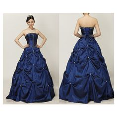 Dark Navy Strapless Ruffled Beaded Ball Gown, Navy Blue Lace-up Back Masquerade Dress In Taffeta