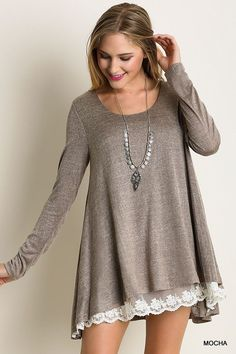 Long Sleeve Knit Top With Lace Detail                                                                                                                                                     More