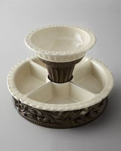 "GG Collection Chip & Dip Set from Horchow.com.  14x9"" tall.  4 removable compartments."