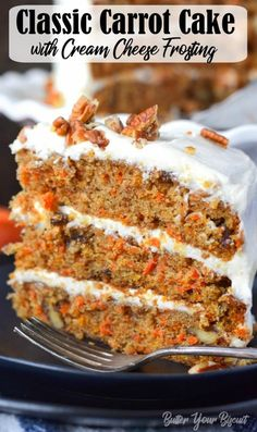 This Carrot Cake Recipe is easy to make super moist and smothered in the most delicious cream cheese frosting carrotcake dessert cake via butteryobiscuit Moist Carrot Cakes, Best Carrot Cake, Recipe For Carrot Cake, Carot Cake Recipe, Pioneer Woman Carrot Cake Recipe, Classic Carrot Cake Recipe, Carrot Cake Frosting, Carrot Banana Cake, Desert Recipes