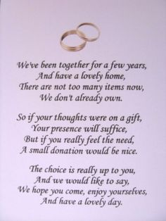 20 Wedding poems asking for money gifts not presents Ref No 1 in Home, Furniture & DIY, Wedding Supplies, Cards & Invitations