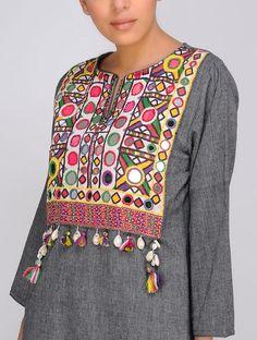 Grey Handloom Cotton Kurta with Vintage yoke by Jaypore Salwar Designs, Kurta Designs Women, Kurti Designs Party Wear, Blouse Designs, Stylish Dress Designs, Designs For Dresses, Stylish Dresses, Kurti Embroidery Design, Embroidery Dress