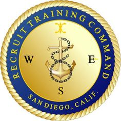 Emblem of Recruit Training Command (RTC) San Diego, CA formerly the west coast training center for Navy recruits. Navy Day, Go Navy, Navy Military, Military Life, Navy Insignia, Honor Courage Commitment, Navy Careers, Navy Training