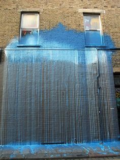 A blue cloud hit a wall and released a deluge -- Krink: London graffiti