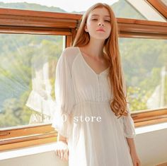 Vintage V-neck Girl long wear Pure white Princes Home dress $66.57   => Save up to 60% and Free Shipping => Order Now! #fashion #woman #shop #diy  http://www.homeclothes.net/product/vintage-v-neck-girl-long-wear-pure-white-princes-home-dress
