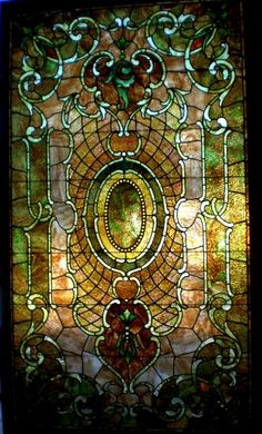 A fine example of an American made opalescent stained glass window from the turn of the century.  The glass used to make this art glass window is from Kokomo Opalescent Glass Company, located in Indiana and still in business today.