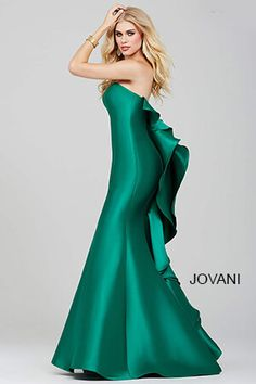 Green Strapless Prom Dress  34070