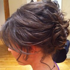 Bridal Hair style. Wedding updo, Bride or bridesmaid hairstyle.  Loose soft curls pinned up.