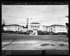 Exterior view of the Redondo Union High School, Redondo Beach, :: California Historical Society Collection, Redondo Beach Pier, Redondo Beach California, University Of Southern California, Historical Society, Beaches, High School, Exterior, Mom, History
