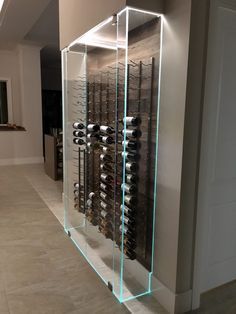 Glass Wine Cellar, Home Wine Cellars, Wine Cellar Design, Wine Cellar Modern, Modern Wine Rack, Wine Bar Design, Wine Cellar Racks, Wine Rack Wall, Wine Wall