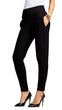 Conceited Women's Dress Pants - Slim and Bootcut - 7 Colors - by (Small, Slim Buttons Black) Biker Pants, Women's Pants, Trousers, Pajama Pants, Treggings, Stretch Dress Pants, Pantsuits For Women, Ponte Pants, Dress Cuts